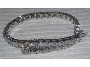 Sparkling 5 carat round diamonds DIAMOND TENNIS BRACELET White Gold 14K