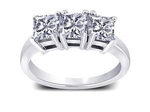 Three carat diamonds three stone engagement ring white gold 14K