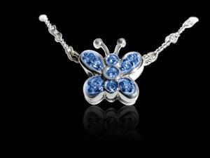 0.75 carat white Gorgeous blue diamonds butterfly pendant White Gold 14K new