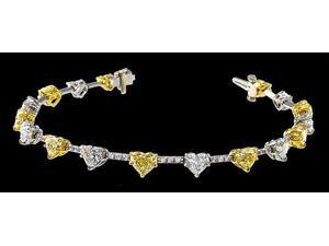 12.80 ct. heart shape canary diamonds bracelet necklace