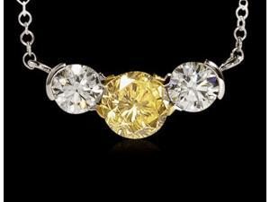 2 ct. certified yellow canary diamonds 3-stone pendant
