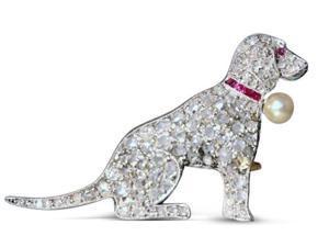 Approx. 1.50 carat Round diamonds memorable dog pendant white gold 14K
