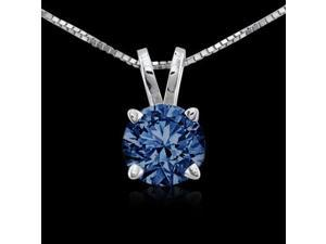 Blue diamonds 1.25 ct. solitaire pendant 14K solid gold