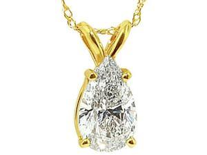 Gorgeous Necklace 2 carat pear diamond solitaire pendant necklace yellow gold