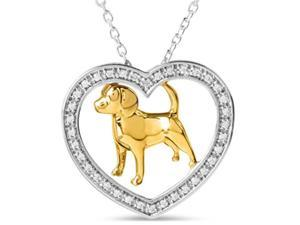 Heart style memorable dog pendant 1.52 carats two tone gold 14K
