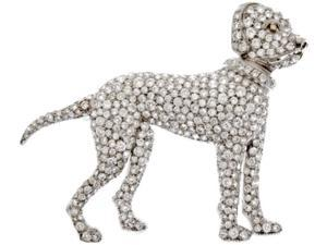 Memorable dog pendant approx. 1.50 carats diamond gold white 14K solid