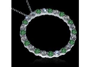 Pendant Necklace 8.75 carat green white diamonds circle pendant necklace