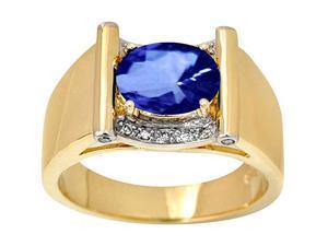 2.26 carat diamonds tanzanite AAA men?s ring jewelry yellow gold 14K
