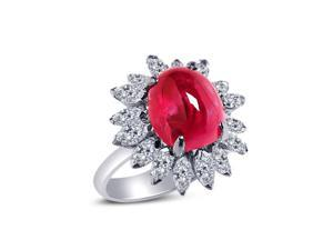 Oval shape natural 13.80 carats ruby diamond platinum ring engagement