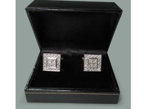 18K White gold men's cufflink pair 3.50 carat diamonds cufflinks