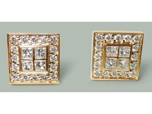 3.50 ct. Diamonds and 18K Yellow gold cuff links men's cufflinks