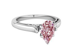 Prong setting 2.01 carats pink pear solitaire diamond ring solid gold 14K new
