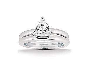 1.5 Ct. Trillion cut diamond solitaire wedding band set
