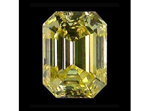 4 Carat Emerald cut fancy canary diamond loose big diamond