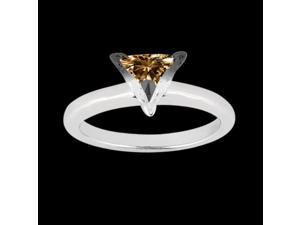 1.51 carat Trillion cut champagne diamond ring white gold new