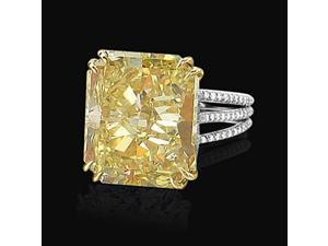 4.50 carat radiant cut yellow canary diamonds ring gold