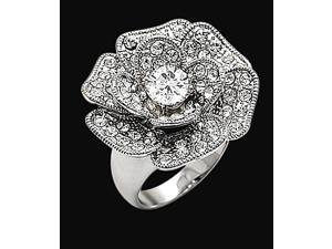 4.51 carat floral style diamonds ring white gold 14K new