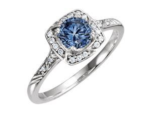 2.75 carats Halo blue round diamond anniversary ring white gold 14K new