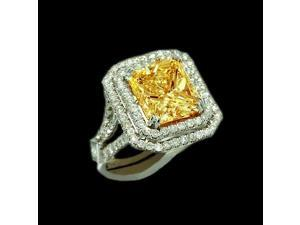 5 Carat yellow canary princess diamond engagement ring white gold 14K