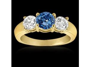 1 ct.blue diamonds 3-stone engagement ring yellow gold