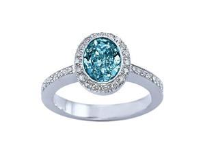 Sparkling 2.11 carats blue oval center diamond solitaire with accents ring gold