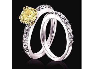 Sparkling 2.51 carat yellow canary & white diamonds wedding ring band new