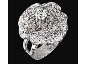 Huge center diamond flower ring 7 carat diamonds floral style