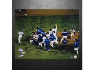 NY Mets 1986 Team Signed 16x20 Photo Team Celebration (35 Sigs) (With Carter)