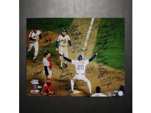 NY Mets 1986 Team Signed 16x20 Photo Howard Johnson at Home Plate (35 Sigs)