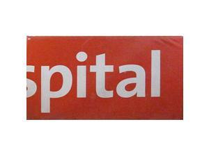 """Red Wall Panel w/ wood back with """"Spital"""" on front (4' Long x 3'2"""" Wide x 4"""" Thick)"""