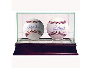 """Stolen Base Kings' 2 Ball Set w/ Glass Double Display Case"