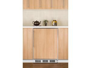 Summit  CT66JBIFR:  Built-in  undercounter  refrigerator-freezer  with  cycle  defrost,  white  exterior,  and  stainles