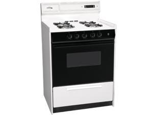 """Summit  WNM6307DK:  Deluxe  gas  range  in  slim  24""""  width  with  electronic  ignition,  digital  clock/timer,  black"""