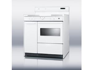 """Summit  WEM430KW:  Deluxe  220V  white  electric  range  with  clock/timer  and  oven  with  light  in  36""""  width  &#xD"""