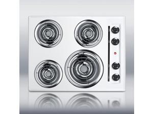 """Summit  WEL03:  24""""  wide  220V  electric  cooktop  in  white  porcelain  finish"""