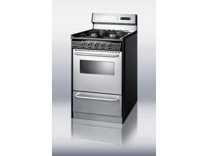 """Summit  TNM13027BFKWY:  Deluxe  gas  range  with  in  slim  20""""  width  with  stainless  steel  doors  and  four  sealed"""