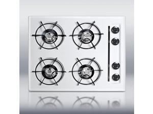 """Summit  WTL033:  24""""  wide  gas  cooktop  in  white,  with  four  burners  and  gas  spark  ignition"""