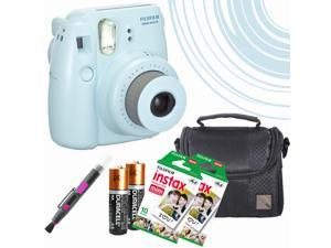 Fujifilm Mini 8 Instant Film Camera (Blue) -20 Instant Film - Extra Pack of Batteries - Mini Compact Camera Case - a Quality 2 in 1 spray and lens brush pen