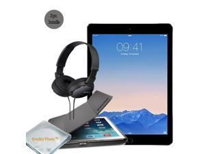 Apple iPad Pro 9.7 Inch Retina Display WiFi 128 GB (Space Gray) - Quality Photo Case For Ipad Pro 9.7 Inch And Micro Fiber Cloth - Sony Headphone. 2016 Model