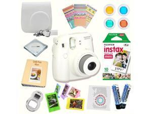 Fujifilm Instax Mini 8 (White) Deluxe kit bundle Includes: - Instant camera with Instax mini 8 instant films (10 pack) - Custom Camera Case - instax Photo Album - Frames - Stickers - Close up lens + M