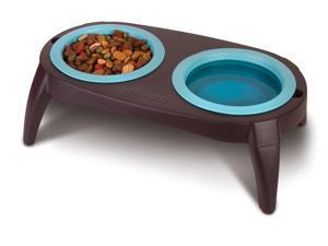 Collapsible Pet Feeder with 2 Removable Silicone Bowls