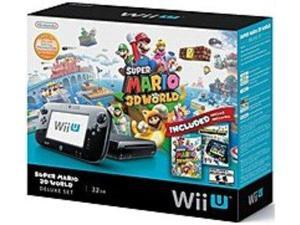 Nintendo WUPSKAGF Wii U Deluxe Set: Super Mario 3D World and Nintendo Land Bundle - Black