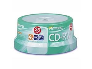 Memorex CD Rewritable Media - CD-RW - 4x - 700 MB - 1 Pack Spindle - Bulk - 120mm - 1.33 Hour Maximum Recording Time