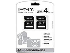PNY 4GB Secure Digital High Capacity (SDHC) Card -(Twin Pack) - 4 GB