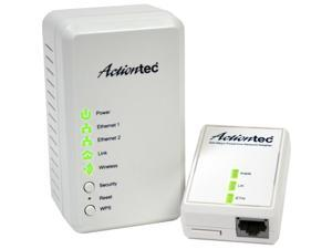 Actiontec Wireless Network Extender + Powerline Network Adapter 500 - 2 x Network (RJ-45) - 62.50 MB/s - Wall Mountable