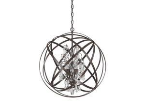 Capital Lighting Axis 4 Light Pendant With Crystals Included, Russet - 4234RS-CR
