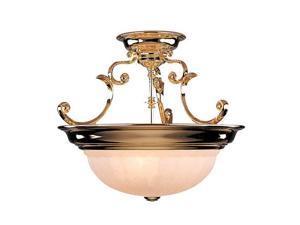 Dolan Designs Richland 3 Light Semi Flush Mount Polished Brass - 525-14