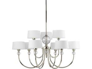 Progress Lighting P4675 Fortune Nine-Light Two-Tier Chandelier with Glass Ball A, Polished Nickel