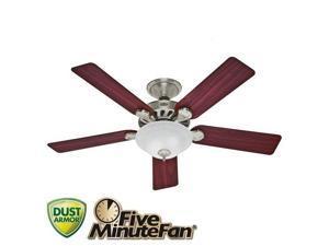 53085 52 in. Five Minute Fan Brushed Nickel Ceiling Fan with Light