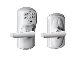 Schlage - FE595 PLY626ELA - Electronic Keyless Lock, Classroom with Key Override, Satin Chrome, Series FE595